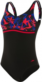 Speedo Contourluxe Printed 1 Piece Black/Chroma Blue/Fed Red