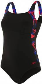 Speedo LunaLustre 1 Piece Black/Chroma Blue/Fed Red