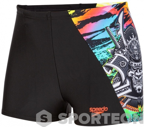 Speedo NeonSamurai Digital Aquashort Boy Black/Bright Zest/Red/Green/Aquasplash