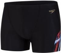 Speedo Allover Digital V-Cut Aquashort Black/Lava Red/White