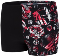 Speedo GlitchAmp Allover 1 Leg Aquashort Boy Black/Lava Red/White