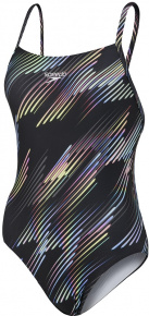 Speedo Allover Digital Rippleback Black/Light Adriatic/Neon Fire/USA Charcoal