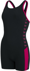 Speedo Boom Logo Splice Legsuit Black/Electric Pink