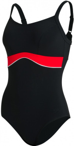 Speedo Salacia Clipback Shaping 1 Piece Black/Lava Red/White